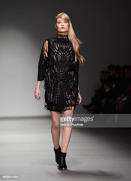 Laura Whitmore walks the runway at the Bora Aksu show during London Fashion Week Fall/Winter 2015/16 at Somerset House on February 20, 2015 in...