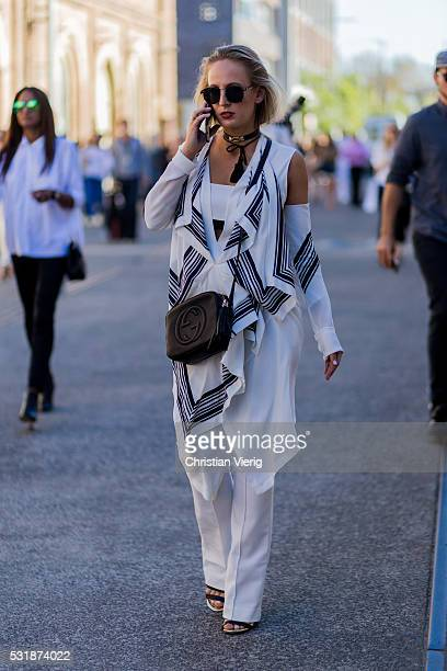 Laura Wiederman wearing Kitx and C Meo Collective and a black Gucci bag outside Bec Bridge at MercedesBenz Fashion Week Resort 17 Collections at...