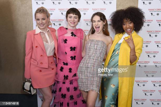 Laura Wiggins Sophia Lillis Mackenzie Graham and Zoe Renee attend the red carpet premiere of Nancy Drew and the Hidden Staircase at AMC Century City...