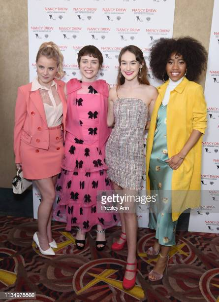 R Laura Wiggins Sophia Lillis Mackenzie Graham and Zoe Renee attend the red carpet premiere of 'Nancy Drew and the Hidden Staircase' at AMC Century...