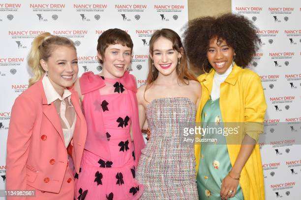 Laura Wiggins Sophia Lillis Mackenzie Graham and Zoe Renee attend the world premiere of Nancy Drew And The Hidden Staircase at AMC Century City 15 on...