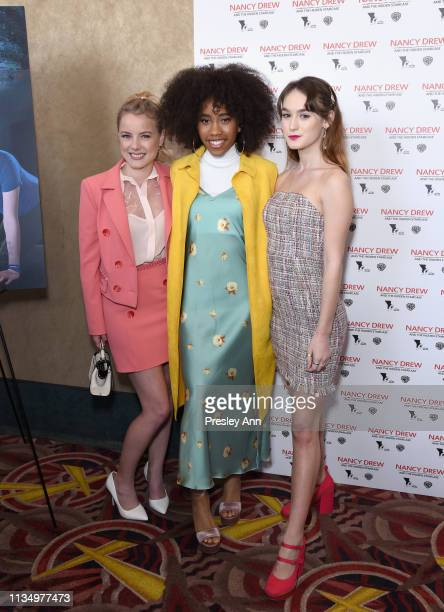Laura Wiggins Zoe Renee and Mackenzie Graham attend the red carpet premiere of 'Nancy Drew and the Hidden Staircase' at AMC Century City 15 on March...
