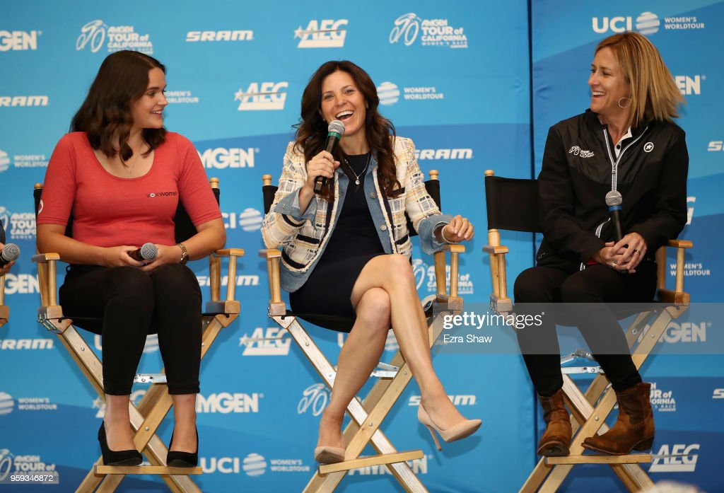 Laura Winter from VOX Women, Kristin Klein, the President of the Amgen Tour of California and Kristin Armstrong, a former professional road cyclist and three-time Olympic gold medalist, speak during a pre-race press event for the Amgen Tour of California Women's Race Empowered with SRAM at the Elk Grove Regional Park Pavilion on May 16, 2018 in Elk Grove, California.