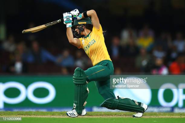 Laura Wolvaardt of South Africa bats during the ICC Women's T20 Cricket World Cup Semi Final match between Australia and South Africa at Sydney...