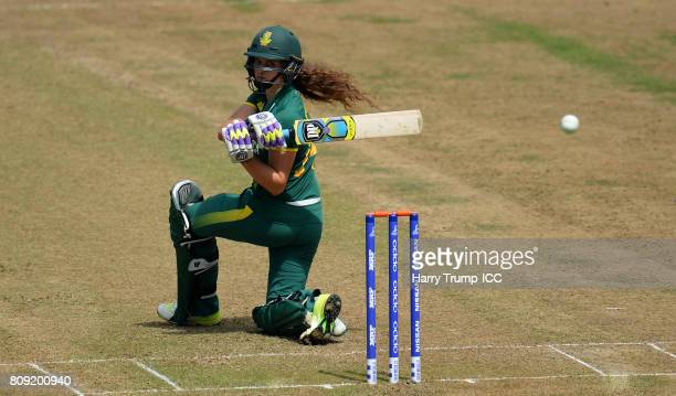 Laura Wolvaardt of South Africa bats during the ICC Women's World Cup 2017 match between England and South Africa at The County Ground on July 5 2017...