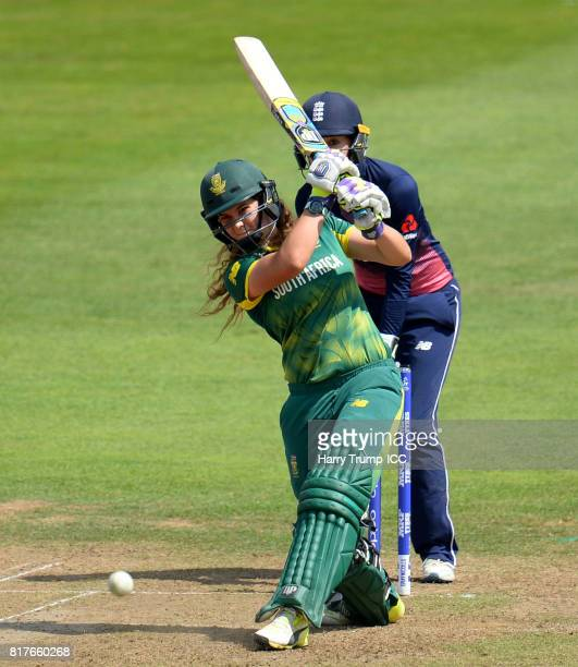 Laura Wolvaardt of South Africa bats during the ICC Women's World Cup 2017 SemiFinal match between England and South Africa at The County Ground on...