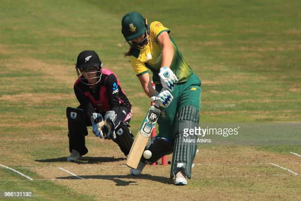 Laura Wolvaardt of South Africa bats during the South Africa Women vs New Zealand Women International T20 TriSeries at The Brightside Ground on June...
