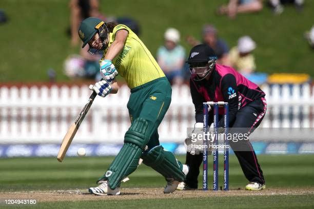Laura Wolvaardt of South Africa bats during the third International Women's T20 Series match between New Zealand and South Africa at Basin Reserve on...