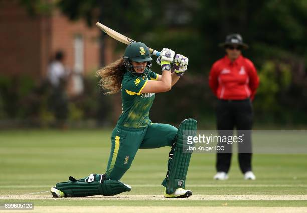 Laura Wolvaardt of South Africa drives the ball during the ICC Women's World Cup warm up match between West Indies and South Africa at Oakham School...