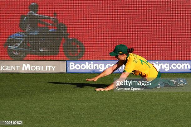 Laura Wolvaardt of South Africa fields during the ICC Women's T20 Cricket World Cup match between South Africa and Pakistan at Sydney Showground...