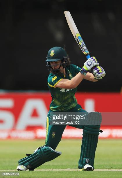 Laura Wolvaardt of South Africa hits the ball towards the boundary during the ICC Women's World Cup 2017 match between South Africa and West Indies...