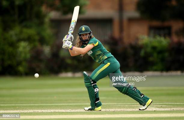 Laura Wolvaardt of South Africa in action during the ICC Women's World Cup warm up match between West Indies and South Africa at Oakham School on...
