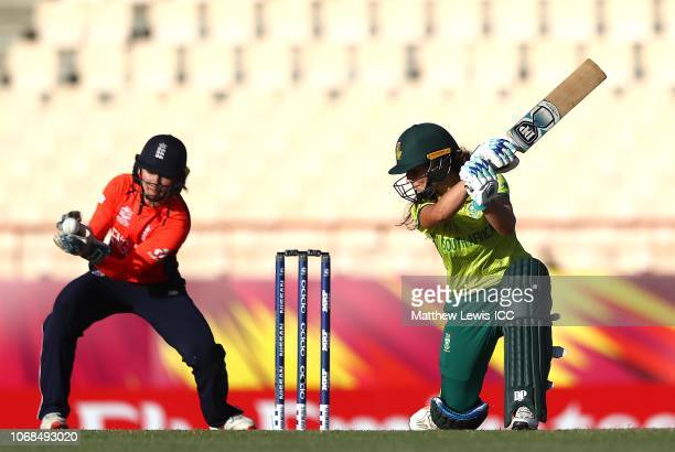 Laura Wolvaardt of South Africa is caught by Amy Jones of England during the ICC Women's World T20 2018 match between England and South Africa at...