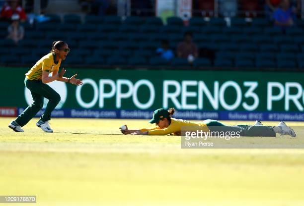 Laura Wolvaardt of South Africa takes a catch to dismiss Sornnarin Tippoch of Thailand during the ICC Women's T20 Cricket World Cup match between...