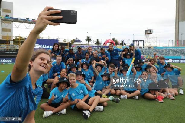 Laura Wolvaardt of South Africa takes a group selfie during the ICC Women's T20 Cricket World Cup Cricket 4 Good Clinic at the WACA on February 21...