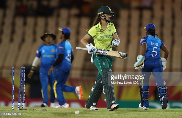 Laura Wolvaardt of South Africa walks off after being bowled Udeshika Prabodhani of Sri Lanka by during the ICC Women's World T20 2018 match between...