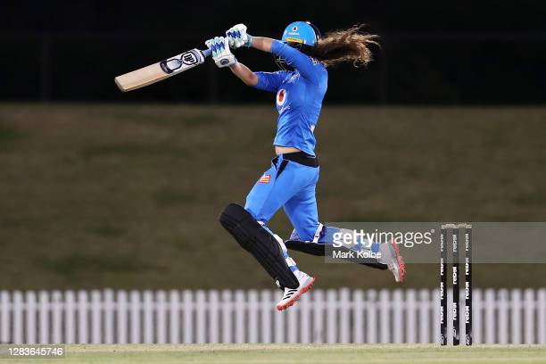 Laura Wolvaardt of the Strikers bats during the Women's Big Bash League WBBL match between the Adelaide Strikers and the Melbourne Stars at Blacktown...
