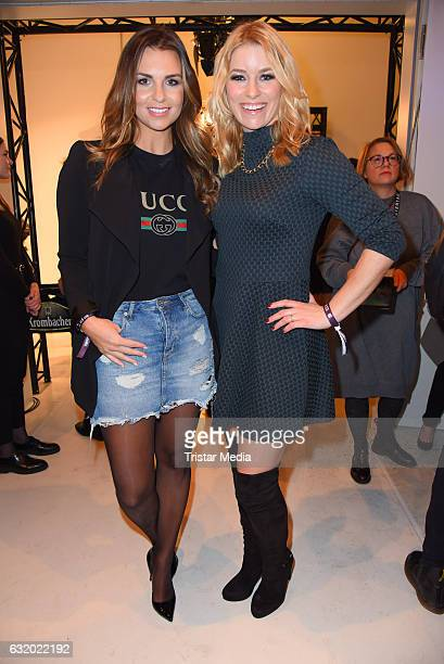 Laura Wontorra and Annica Hansen attend the Marcel Ostertag show during the MercedesBenz Fashion Week Berlin A/W 2017 at Delight Rental Studios on...