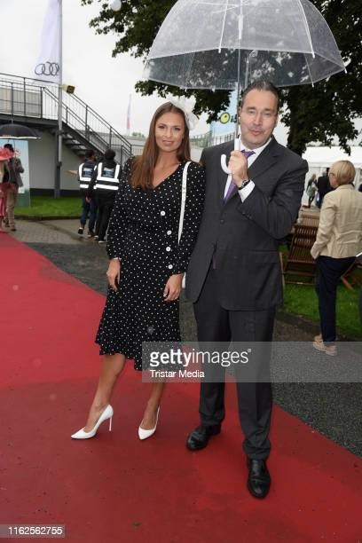 Laura Wontorra and Gregor Baum attend the Audi Ascot Race Day at Neue Bult horse racing track on August 18 2019 in Langenhagen Germany
