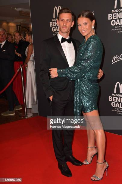 Laura Wontorra and her husband Simon Zoller attends the Golden Society Family Friends Charity Gala by McDonald's at Hotel Bayerischer Hof on November...