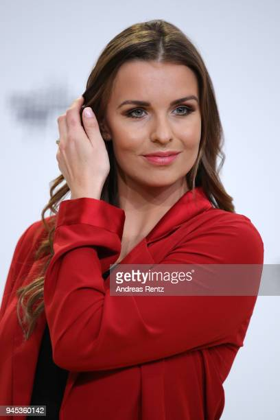 Laura Wontorra arrives for the Echo Award at Messe Berlin on April 12 2018 in Berlin Germany