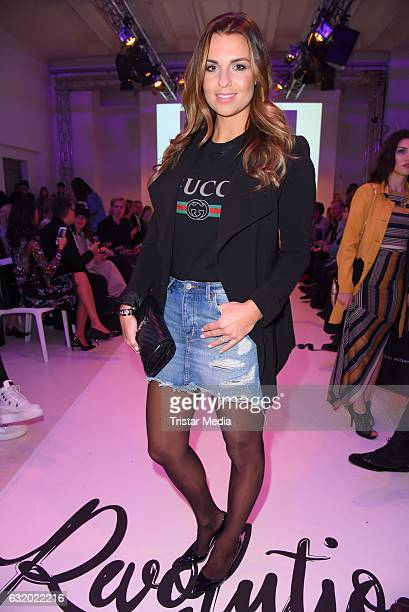 Laura Wontorra attends the Marcel Ostertag show during the MercedesBenz Fashion Week Berlin A/W 2017 at Delight Rental Studios on January 18 2017 in...