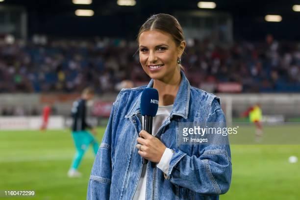 Laura Wontorra looks on during the UEFA Europa League Third Qualifying Round match between FC Vaduz and Eintracht Frankfurt on August 8 2019 in Vaduz...