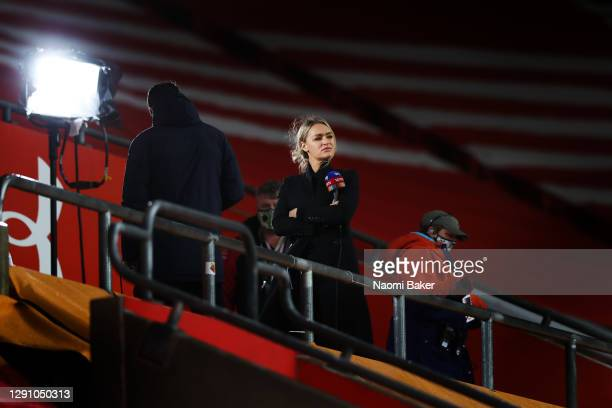 Laura Woods, Sky Sports presenter looks on from the TV Studio in the empty spectator stand during the Premier League match between Southampton and...