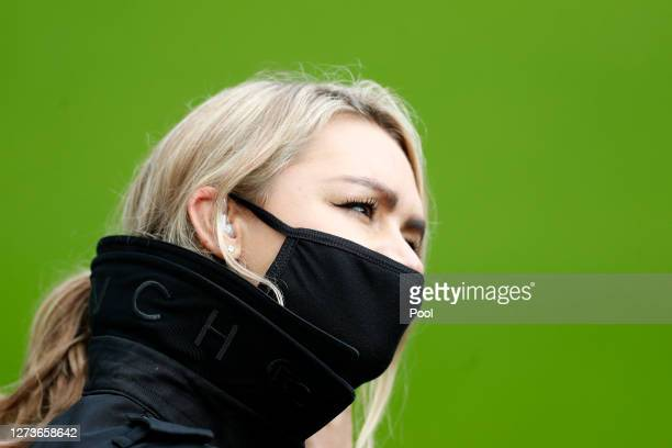 Laura Woods Sky Sports presenter looks on prior to the Premier League match between Newcastle United and Brighton Hove Albion at St James Park on...