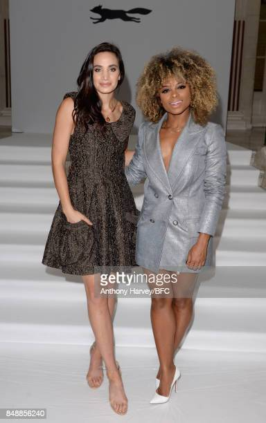 Laura Wright and a Fleur East attend the Paul Costelloe presentation during London Fashion Week September 2017 on September 18, 2017 in London,...