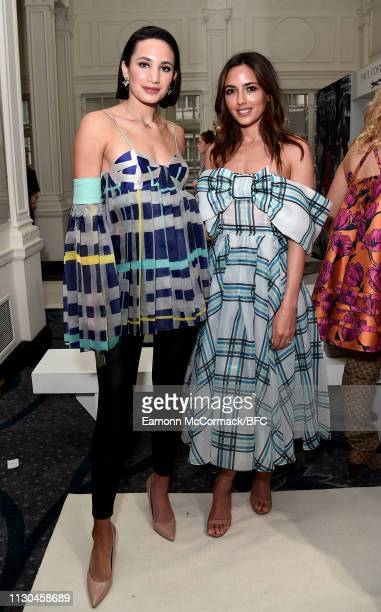 Laura Wright and Nadia Forde attend the Paul Costelloe presentation during London Fashion Week February 2019 at the Simpsons in the Strand on...