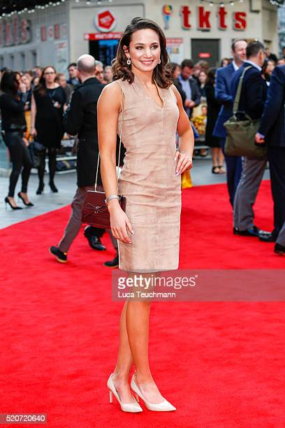 """Laura Wright arrives for the UK film premiere Of """"Florence Foster Jenkins"""" at Odeon Leicester Square on April 12, 2016 in London, England."""