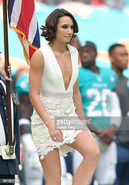 Laura Wright attends the NFL International fixture as the New York Jets compete against the Miami Dolphins at Wembley Stadium on October 4 2015 in...