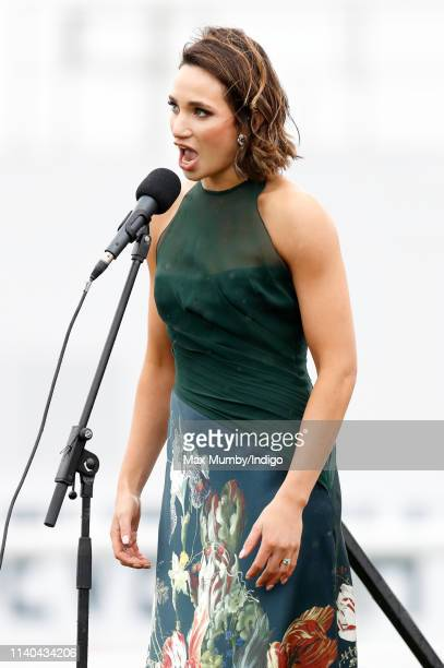 Laura Wright performs ahead of the first race on day 1 of The Randox Health Grand National Festival at Aintree Racecourse on April 4, 2019 in...