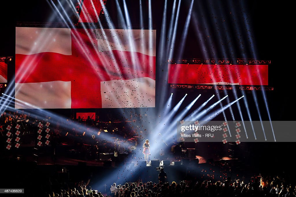 Laura Wright performs Jerusalem during the Wear The Rose Live Official England Send off event hosted by O2 at The O2 Arena on September 9, 2015 in London, England. The Event saw over 14,500 England fans showing their support for the team.