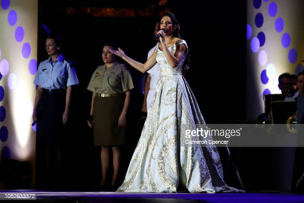 Laura Wright performs with the TriServices band during the Invictus Games Sydney 2018 Opening Ceremony at Sydney Opera House on October 20 2018 in...