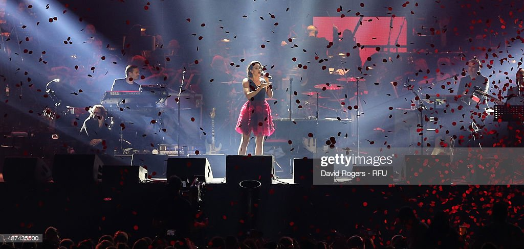 Laura Wright sings Jerusalem during the Wear The Rose Live official England send off event hosted by 02 at The O2 Arena on September 9, 2015 in London, England. The Event saw over 14,500 England fans showing their support for the team.