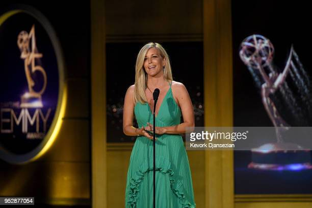 Laura Wright speaks onstage during the 45th annual Daytime Emmy Awards at Pasadena Civic Auditorium on April 29 2018 in Pasadena California