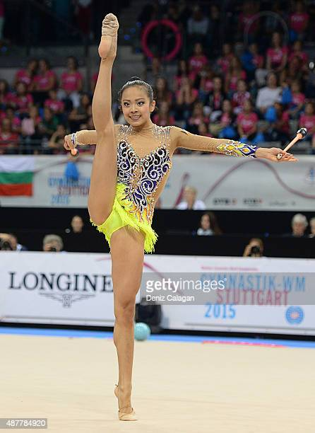 Laura Yihan Zeng of the United States competes with clubs during the 34th Rhythmic Gymnastics World Championships 2015 on September 11 2015 in...