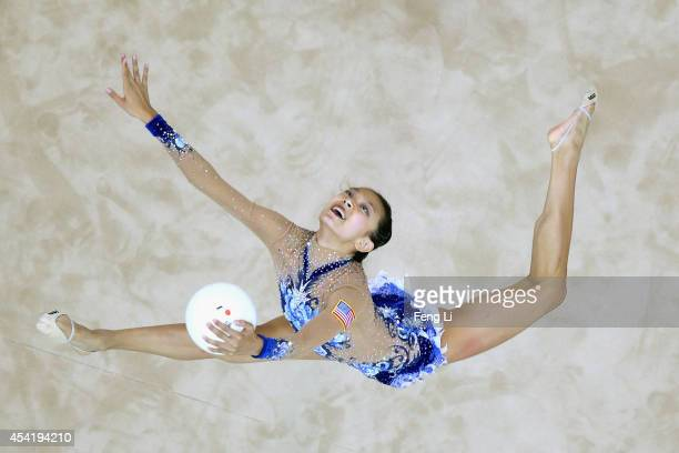 Laura Zeng of the United States competes in Rhythmic Gymnastics Individual AllAround Qualification on day ten of the Nanjing 2014 Summer Youth...