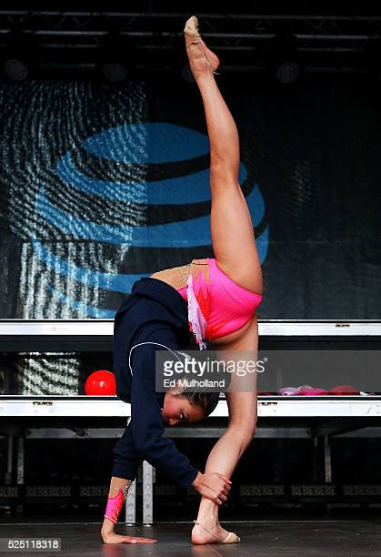 Laura Zeng performs a rhythmic gymnastics demonstration during Team USA's Road to Rio Tour presented by Liberty Mutual on April 27 2016 in New York...