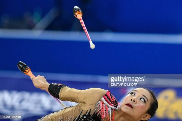 Laura Zeng performs during the individual allaround final at the World Rhythmic Gymnastics Championships at Arena Armeec in Sofia on September 14 2018