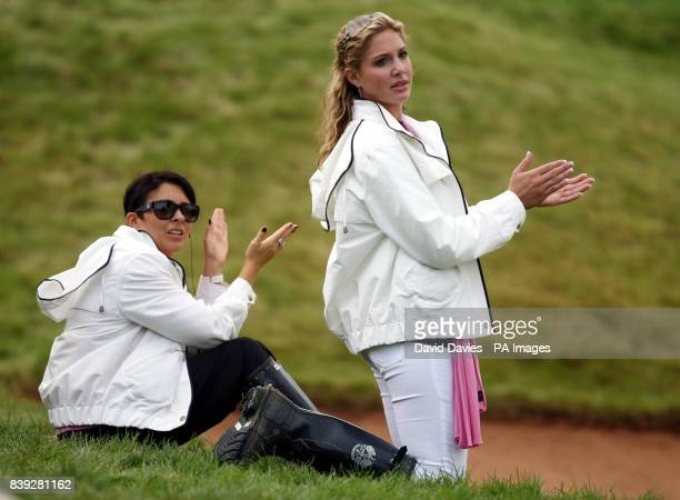 Laurae Westwood and girlfriend of Martin Kaymer Allison Micheletti during the afternoon foursomes during the Ryder Cup at Celtic Manor Newport