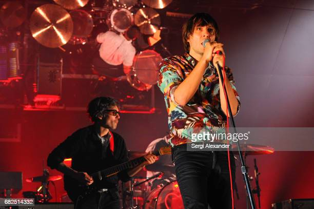 Laurant Brancowitz and Thomas Mars of French alternative rock band Phoenix perform in concert at Fillmore at Jackie Gleason Theatre on May 12 2017 in...