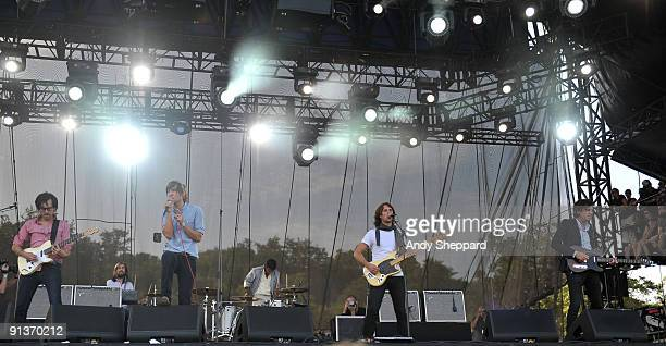 Laurant Brancowitz Thomas Mars Deck D'Arcy and Christian Mazzalai of Phoenix perform on stage on the Day 1 of Austin City Limits Festival 2009 at...