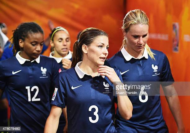 Laure Boulleau and Amandine Henry of France talk in the tunnel during the FIFA Womens's World Cup round of 16 match between France and Korea at...