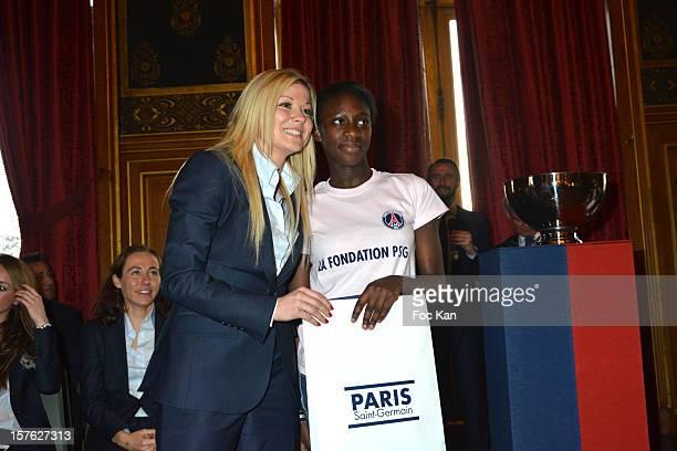 Laure Boulleau as godmother for this secondary school girl from college Francois Villon attend 'Allez Les Filles' Paris Saint Germain Women Football...