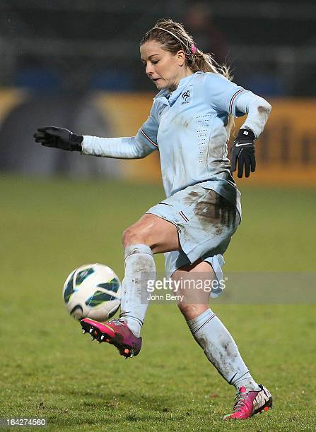 Laure Boulleau of France in action during the women international friendly match between France and Brazil at the Robert Diochon stadium on March 9...