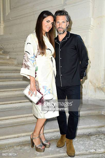 Laure Heriard Dubreuil and Aaron Young attend the Valentino Menswear Spring/Summer 2017 show as part of Paris Fashion Week on June 22, 2016 in Paris,...