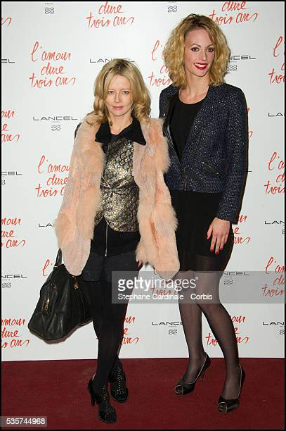 Laure Marsac and Sara Mortensen attend the premiere of L'Amour Dure Trois Ans at Le Grand Rex in Paris